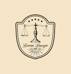 Law office logo with scales of justice vector