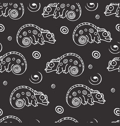 black and white seamless pattern with chameleon vector image