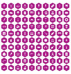 100 street food icons hexagon violet vector