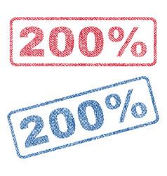 200 percent textile stamps vector