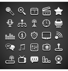 Flat metallic universal icons vector
