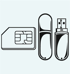 Usb flash memory and mobile phone sim vector