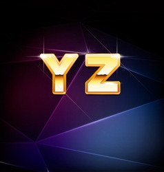 Golden shiny alphabet form y to z vector