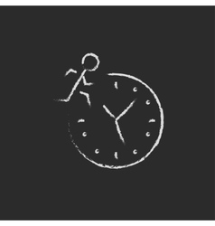 Time management icon drawn in chalk vector