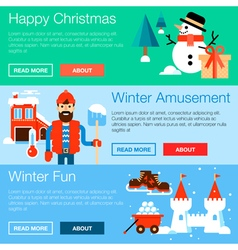 Winter fun banners vector