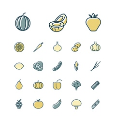Icons thin blue food vegetables vector