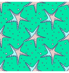 Pattern with starfish on the green backdrop vector