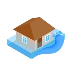 House sinking in water icon isometric 3d style vector