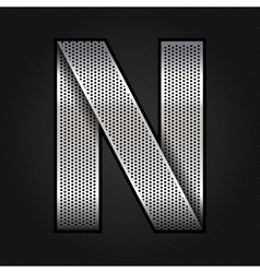 Letter metal chrome ribbon - N vector image