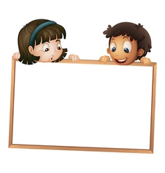Kids holding wooden frame vector