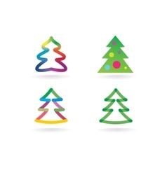 Abstract xmas tree icon set concept Logotype vector image vector image