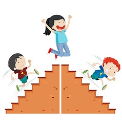 Boys running up and down the stairs vector