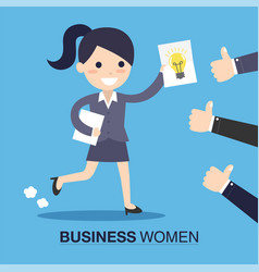 Businesswoman with an idea vector