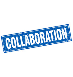 Collaboration square stamp vector