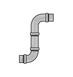 Color crayon silhouette of drain pipe vector