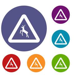deer traffic warning sign icons set vector image vector image