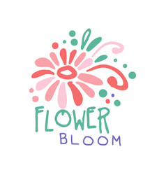 Flower bloom logo template colorful hand drawn vector