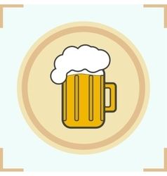 Foamy beer mug icon vector