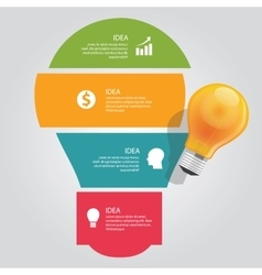 Four 4 elements of idea info graphic chart overlap vector