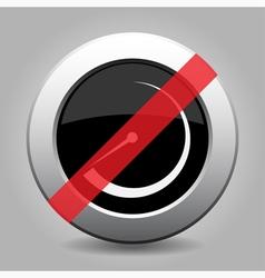 Gray chrome button - no dial symbol vector