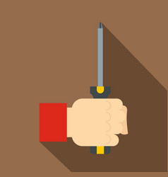 Hand holding screwdriver tool icon flat style vector