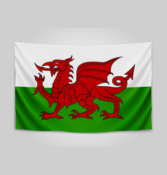 hanging flag of wales wales national flag vector image vector image