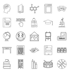 High education icons set outline style vector