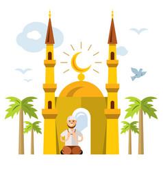Islamic prayer flat style colorful cartoon vector