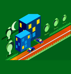 isometric city car tree night moon green vector image vector image