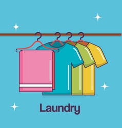 Laundry service clean towel and shirt hanger vector