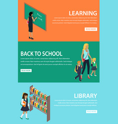 Learning back to school library colourful poster vector