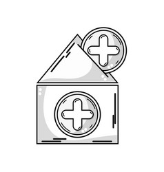 Line house blood dotaion with cross symbol vector