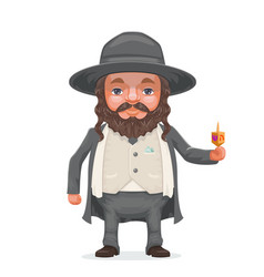 Male rabbi payot beard traditional jewish costume vector