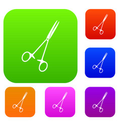 medical clamp scissors set color collection vector image vector image