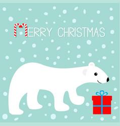 merry christmas greeting card arctic polar bear vector image vector image