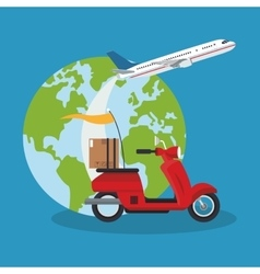 Motorcycle airplane and planet of delivery concept vector