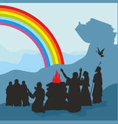 Noah and family see a rainbow vector