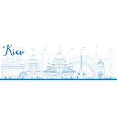 Outline kiev skyline with blue landmarks vector
