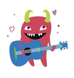 Red monster guitarist character vector