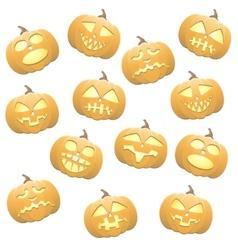 Seamless pumpkins background vector image