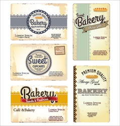 Set of 5 bakery retro business card templates vector
