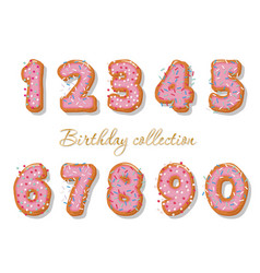 Sweet hand drawn numbers set for birthday design vector