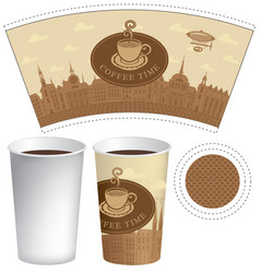 Template paper cup with old town and coffee cup vector