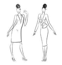 The sketch of women in different poses vector image vector image