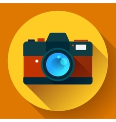 Vintage photo camera icon with long shadow Flat vector image
