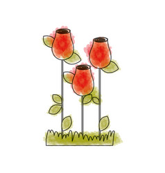 Watercolor drawing of rosebuds planted with leaves vector