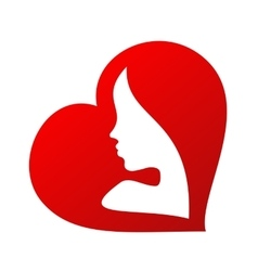 Woman face silhouette inside of a heart shape vector