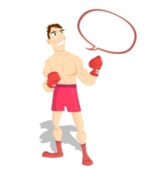 Funny cartoon character boxer boxing champion vector