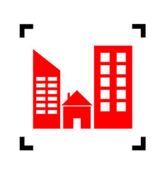 Real estate sign  red icon inside black vector