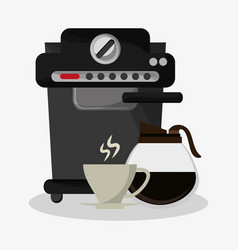 Coffee espresso machine with glass jar and vector